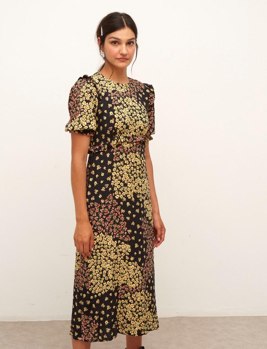 Lenzing Ecovero Patchwork Floral Felicia Midi Dress