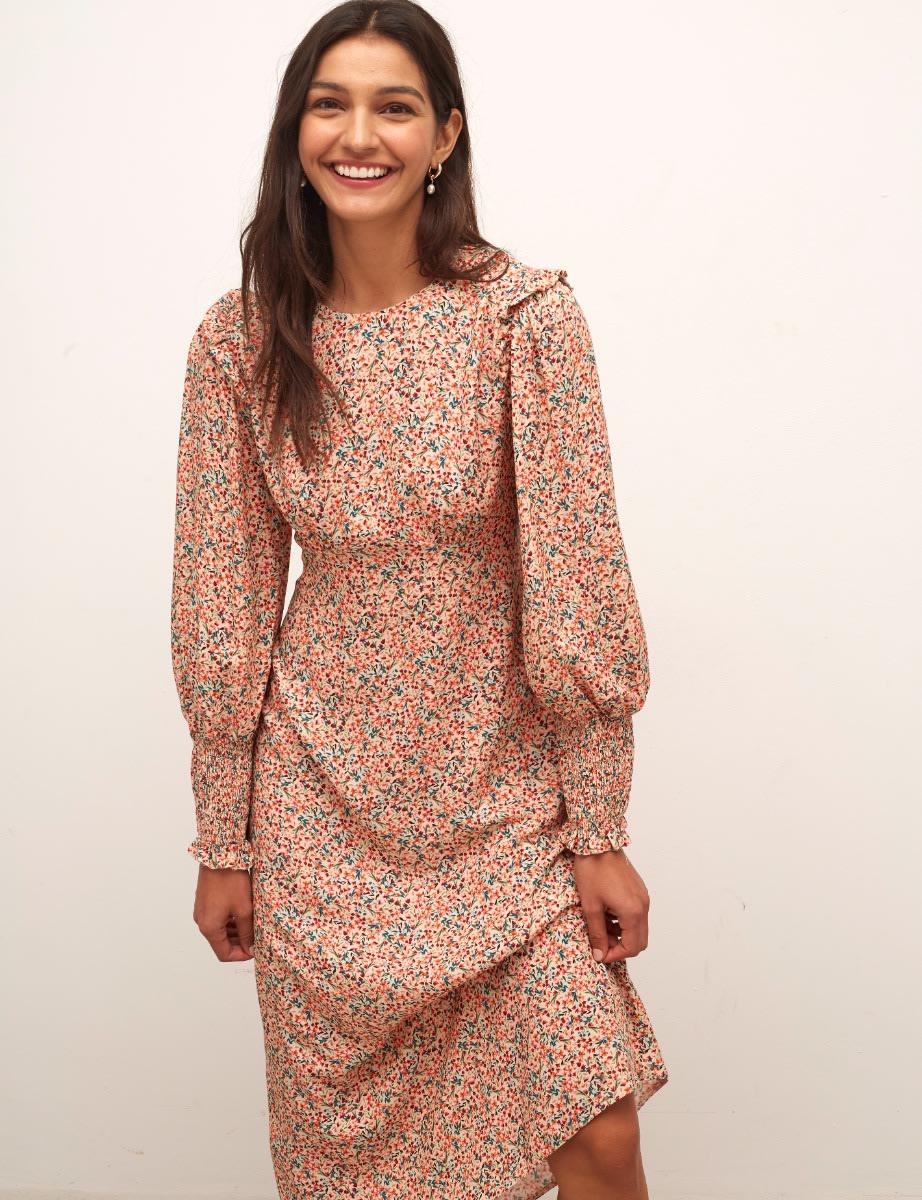 Cream Multi Floral Ariana Midi Dress