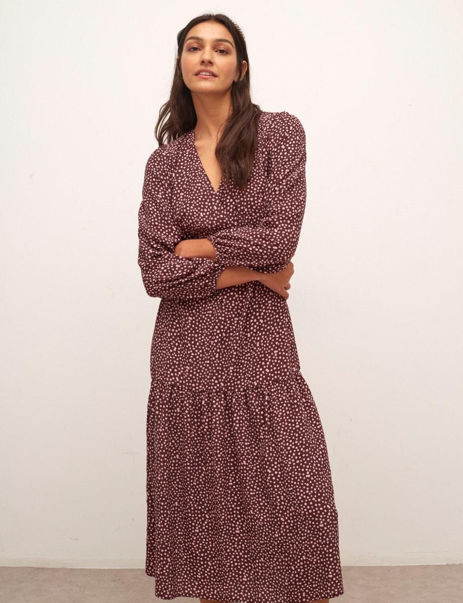 Lenzing Ecovero Pink and Purple Ditsy Florence Midi Dress