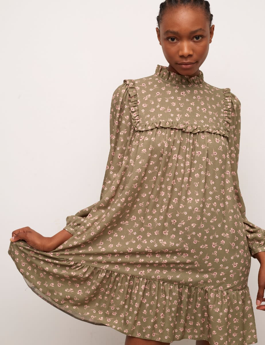 Khaki Floral Heather Smock Mini Dress