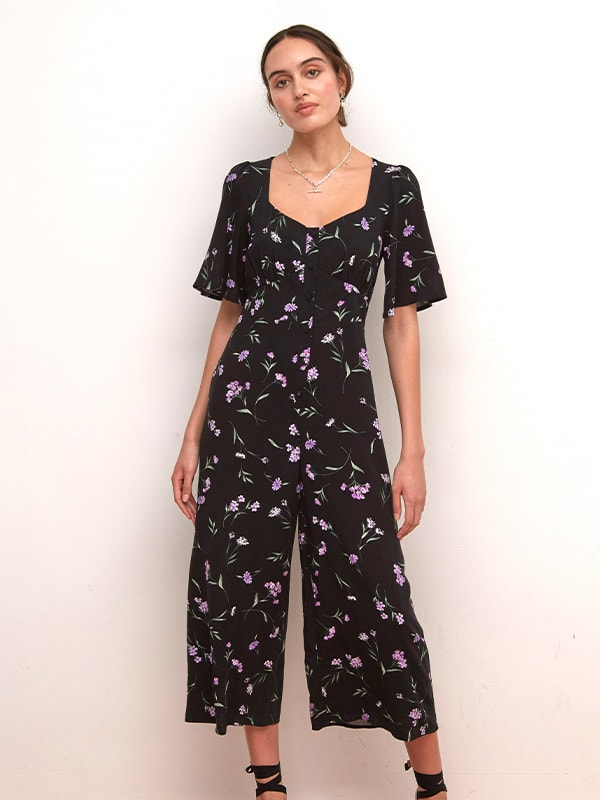 Lenzing TM Ecovero TM Black and Purple Floral Winnie Jumpsuit