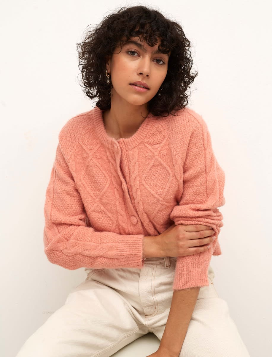 Pink Chunky Cable Stitch Cardigan
