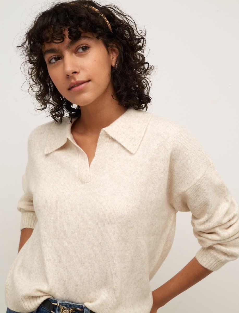 Oatmeal Open Collar Sweater