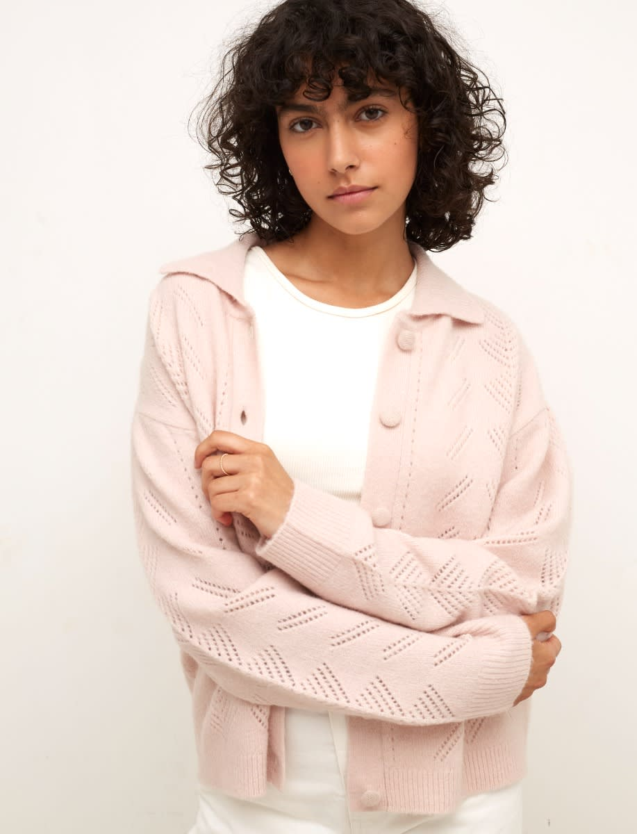 Pink Pointelle Collared Cardigan