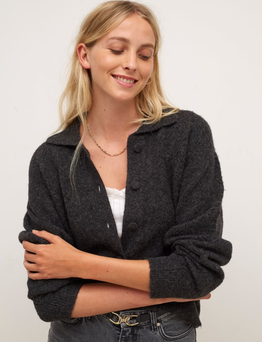 Charcoal Pointelle Collared Cardigan