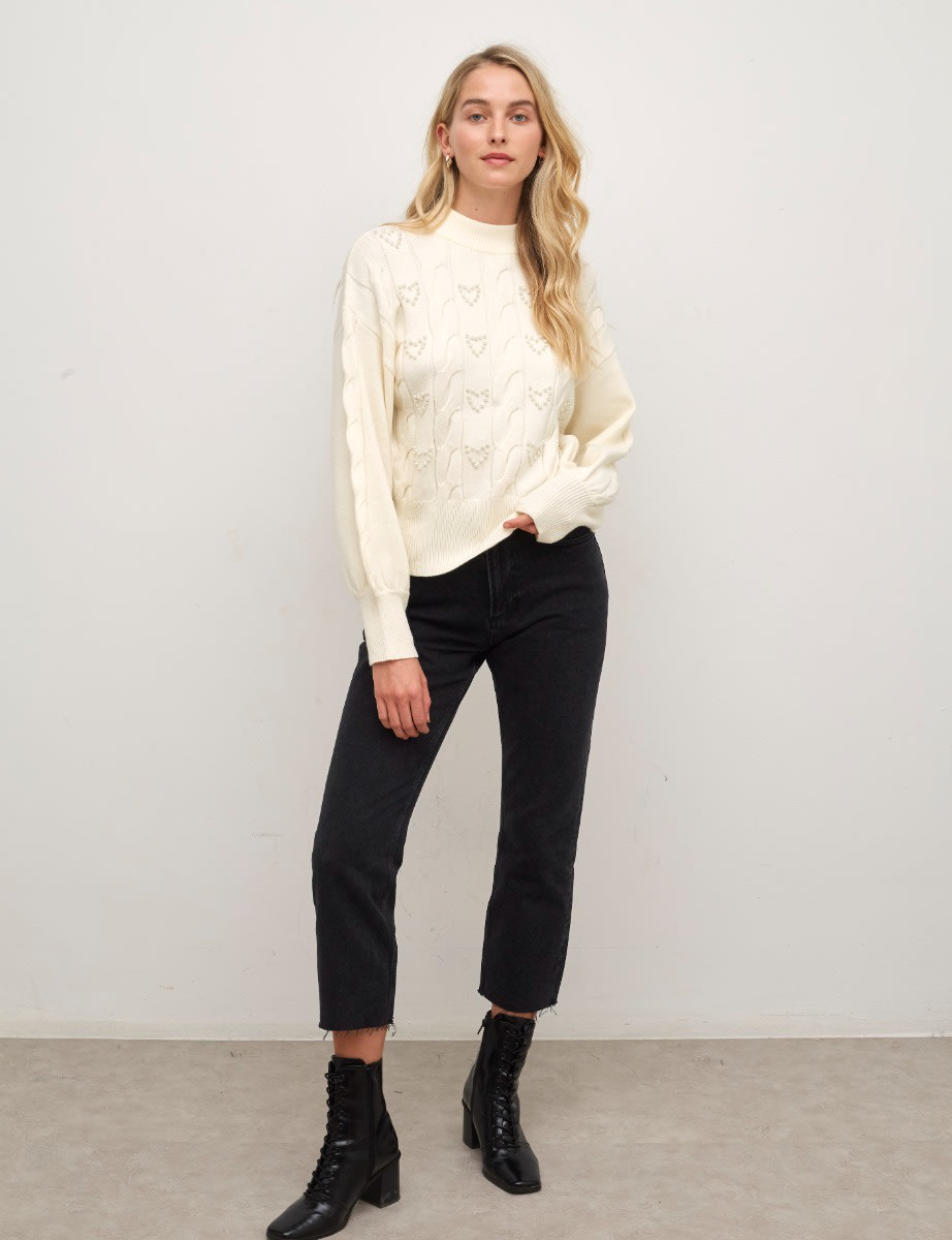 Cream Cable & Heart Pearl Detail Sweater