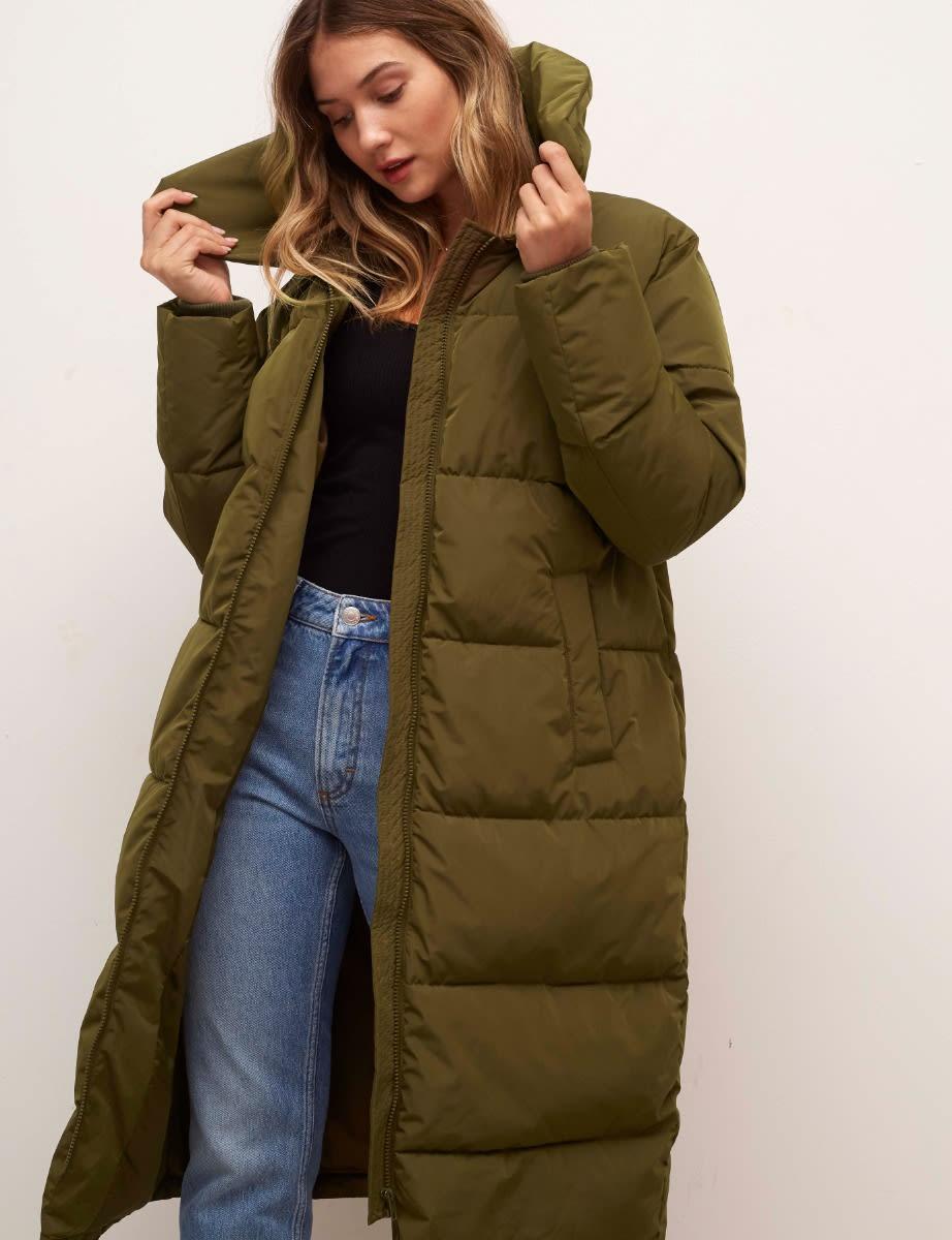 Olive Green Charlene Long Puffer Coat