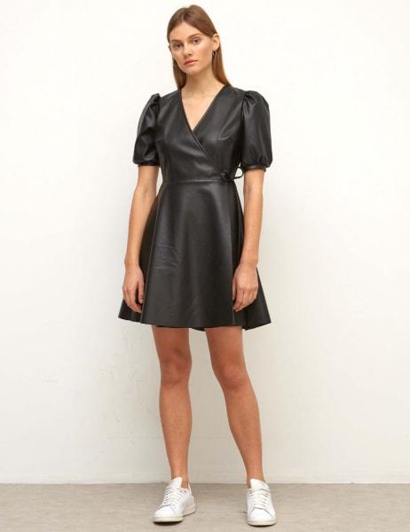 Wrap PU Mini Dress