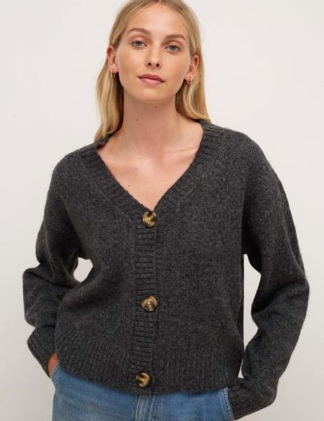 Charcoal V-Neck Single Jersey Cardigan