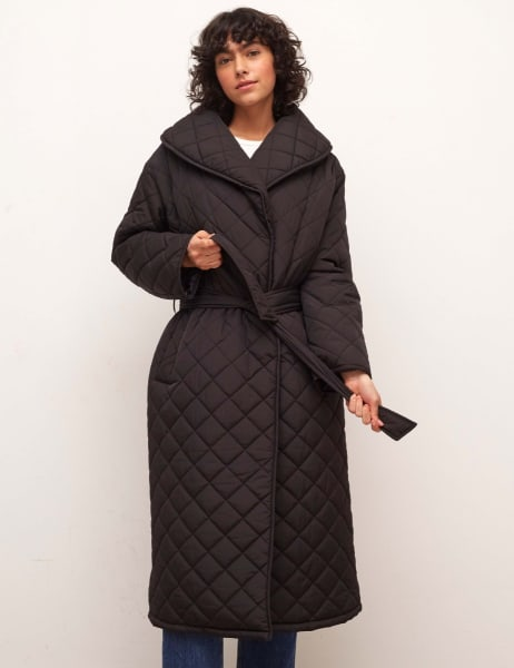 Somme Long Belted Quilted Coat