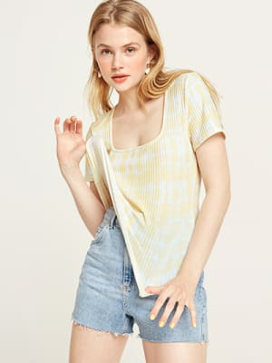 Yellow Tie Dye Dree Rib T-Shirt