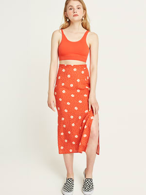 Red and White Daisy Spot Delilah Midi Skirt
