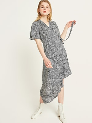 Black and White Animal Freya Wrap Dress