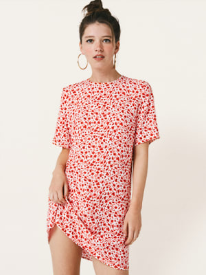 White and Red Floral Ferne Mini Dress