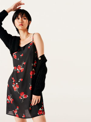 Black and Red Rose Victoria Cami Mini Dress