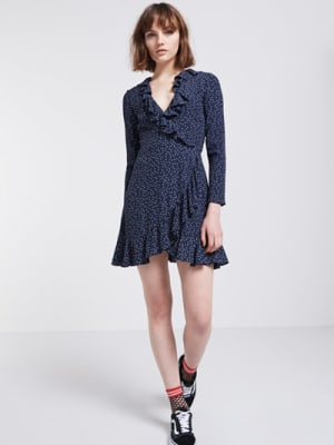 Navy Ria Dot Ruffle Wrap Dress