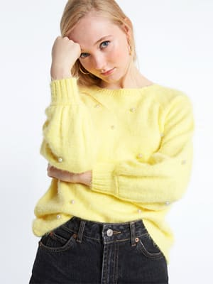 Yellow Pearl Boxy Jumper