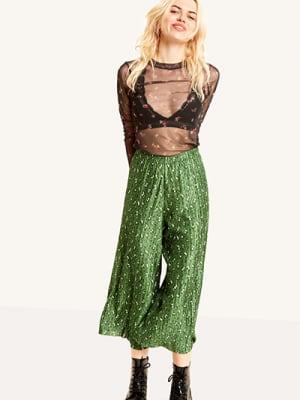 Green Floral Plisse Trouser