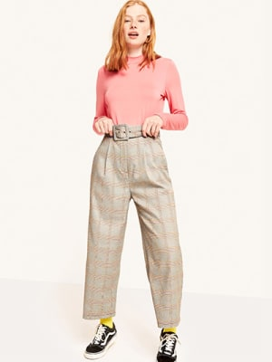 Mustard Gordon Check Self Belt Trouser