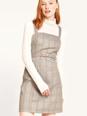 Mustard Gordon Check Self Belt Pinny Dress