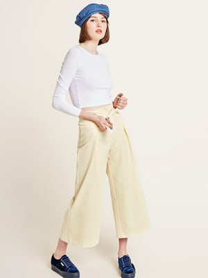 Yellow Ellie Cotton Tie Detail Wide Leg Trouser
