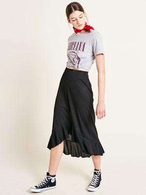 Black Rib Ruffle Hem Midi Skirt