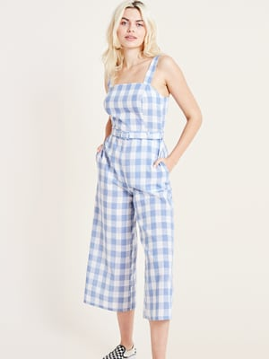 Blue and White Gingham Check Jumpsuit