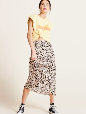 Cream Leopard Print Katy Bias Satin Skirt
