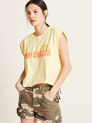 Yellow Sunchaser Graphic Print T Shirt
