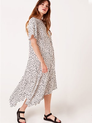 White and Black Spot Sky Midi Dress