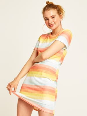 Orange Sunset Stripe Renee T-Shirt Dress