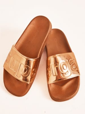 Rose Gold Metallic Superga Pool Slides