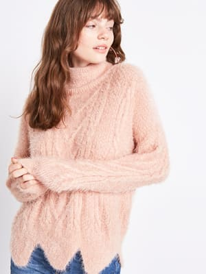Pink Scalloped Hem Roll Neck