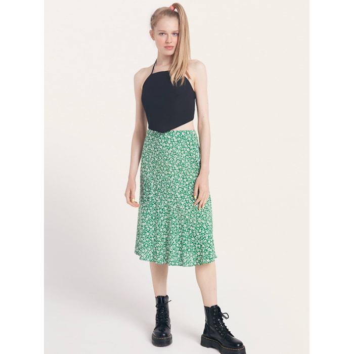 Green and White Floral Fran Slip Midi Skirt