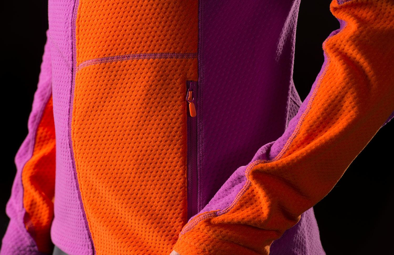 Orange fleece ski jacket by Norrona