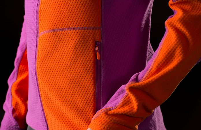 Orange fleece ski jacket by Norrona