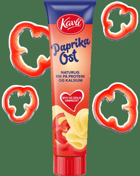 Kavli Paprikaost på tube. Laget av norsk hvitost og paprikabiter.