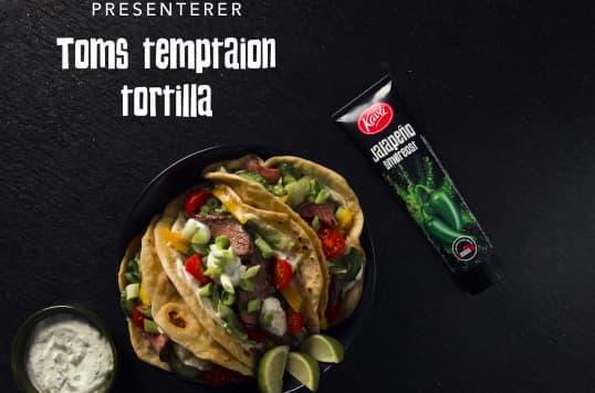 Tortillalefser med Kavli Smaksrik smøreost Jalapeño, grønnsaker og lime.