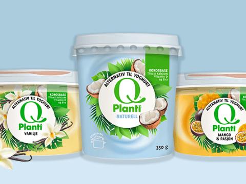 Q® Planti® - yoghurtalternativ med kokosmelkbase i naturell og smaksvariantene Vanilje og Mango & Pasjon