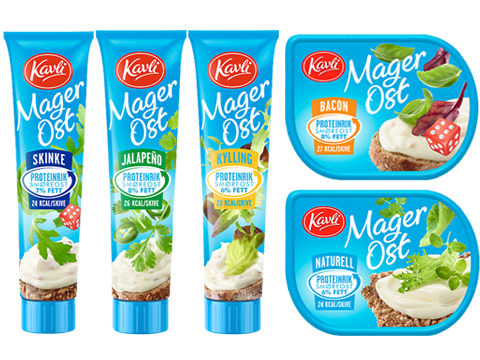 Kavli MagerOst på tube og beger i flere smaksvarianter, som skinke, kylling, naturell og jalapeño.