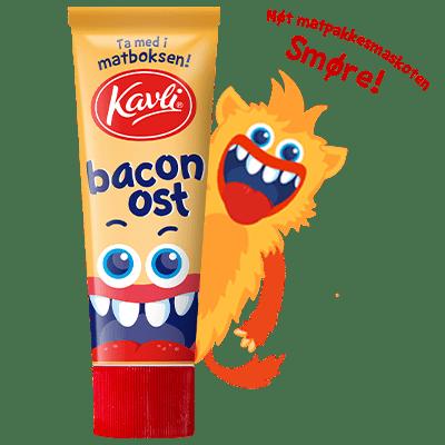 BaconOst i matpakketube sammen med matboksmaskoten Smøre