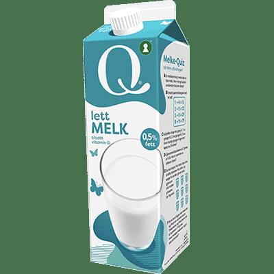 Qlettmelk 0,5 % er beriket med vitamin D, som hjelper kroppen å ta opp kalsium framat og drikke.