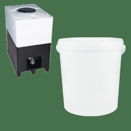 Returcontainer och vit hink 15 kg
