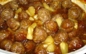 Pineapple Meatballs with Smoked Kosher Sausage