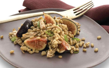 Warm Barley, Chicken, and Fig Salad