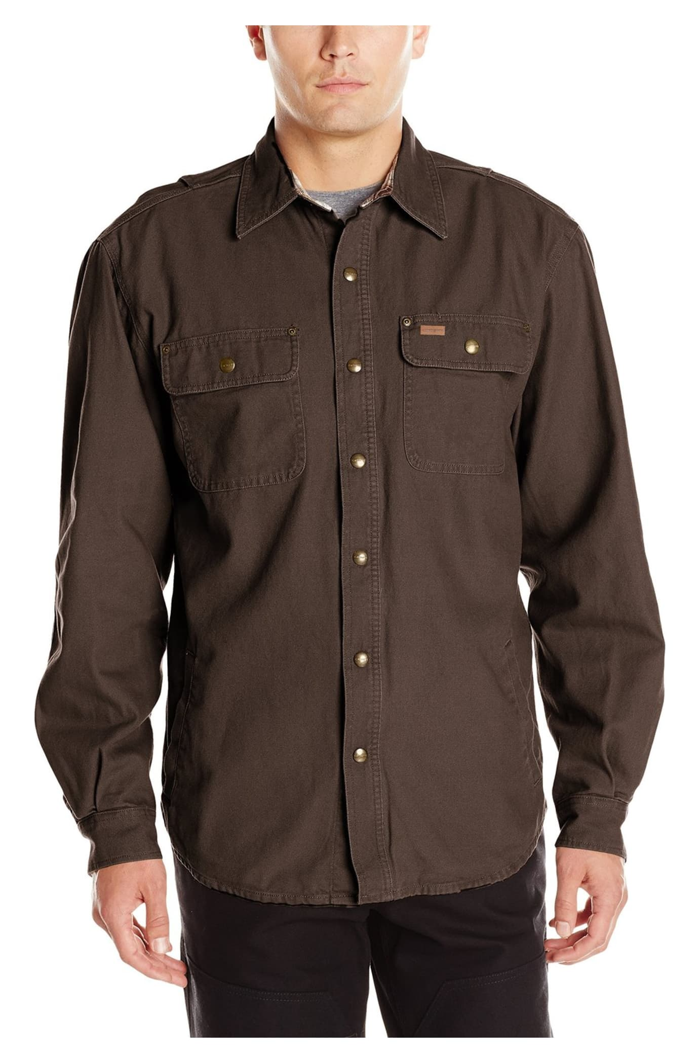 Carhartt men 39 s weathered canvas shirt jacket dark brown xl for Black brown mens shirts