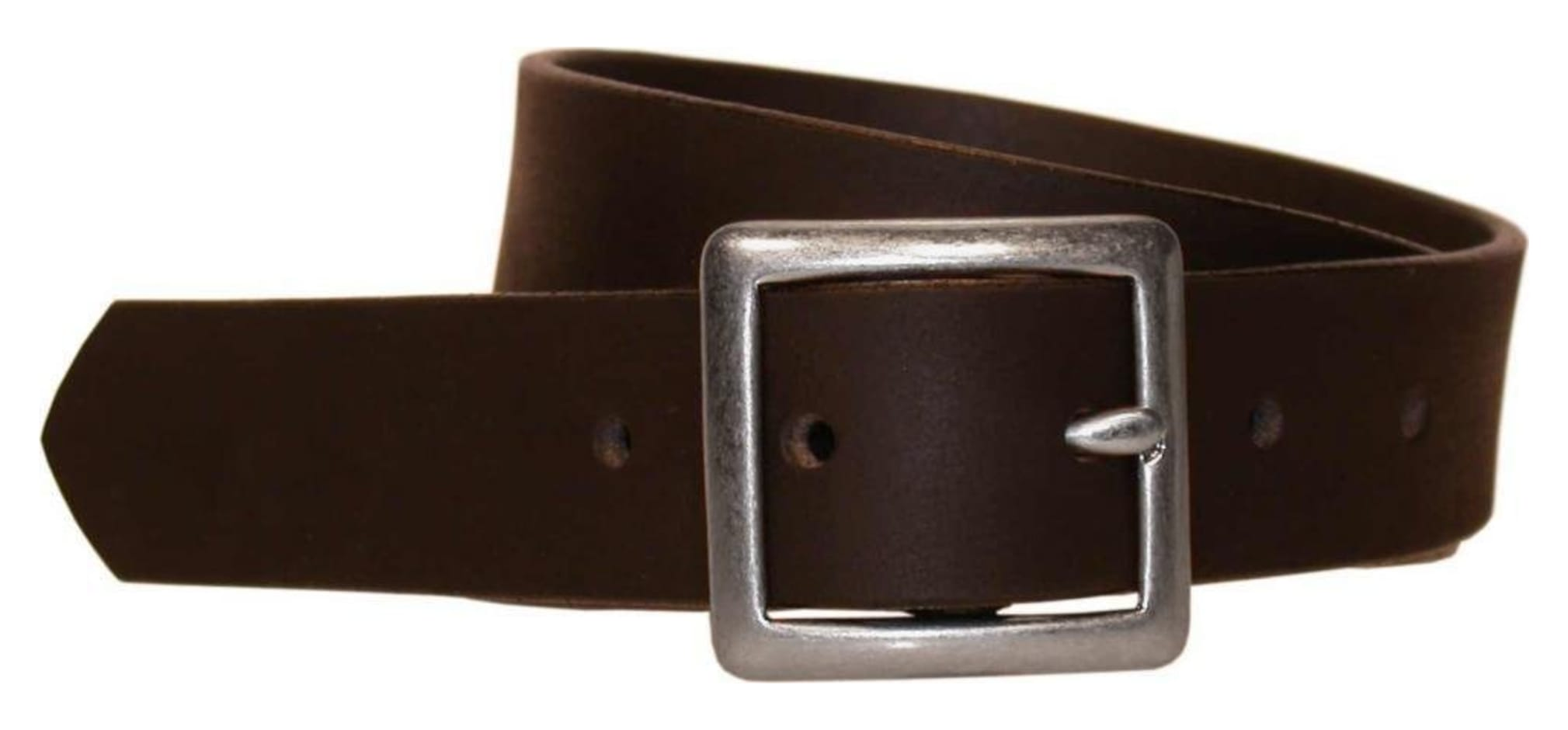 Bison 30mm Standard Leather Silver Buckle Belt Brown 34