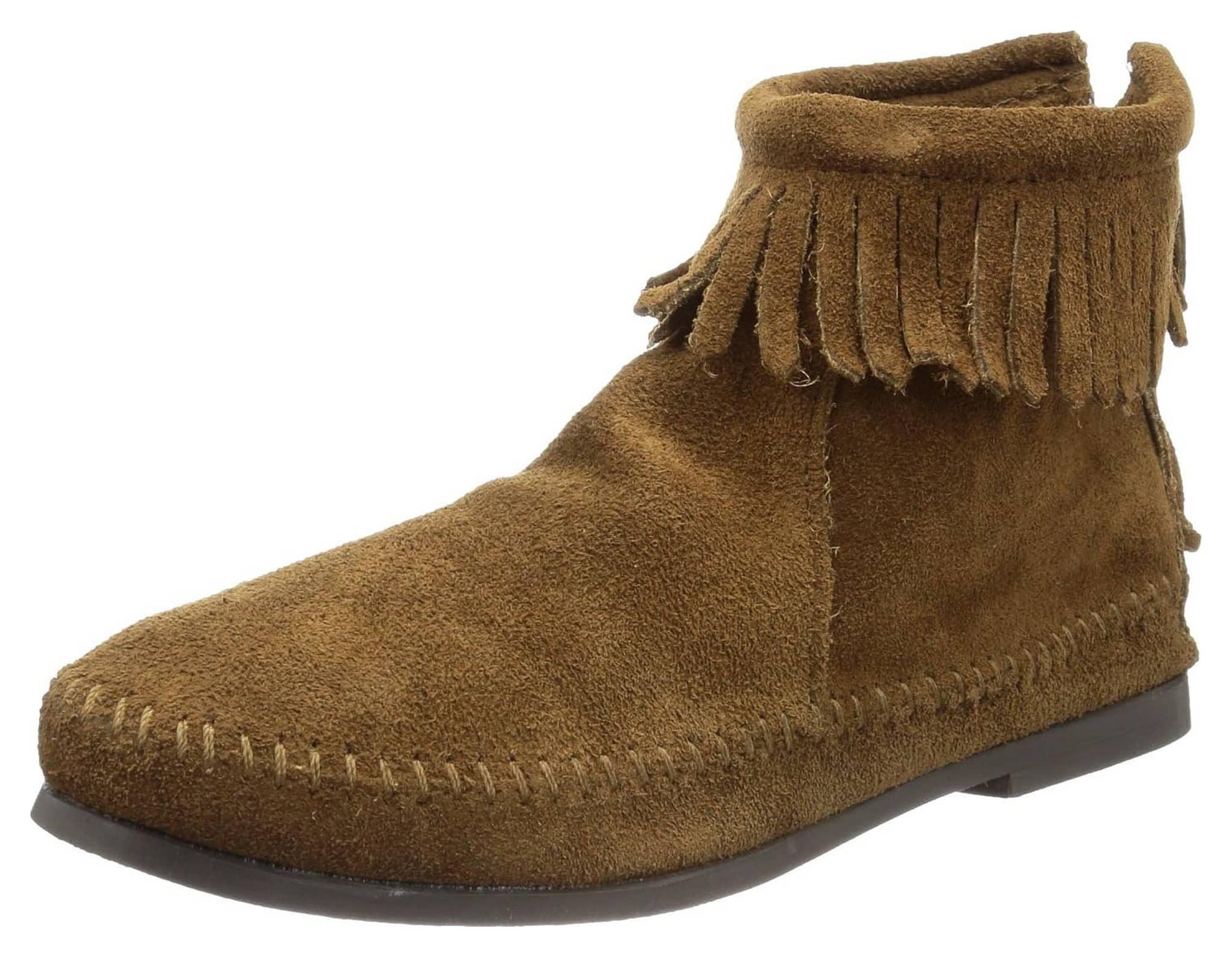 minnetonka s back zip boot dusty brown 8