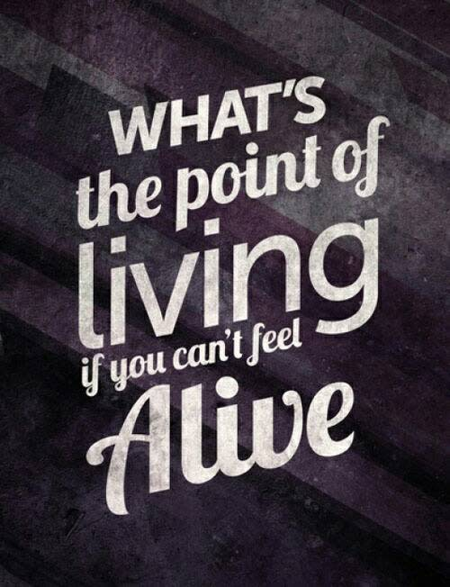 What's the point of living if you can't feel alive
