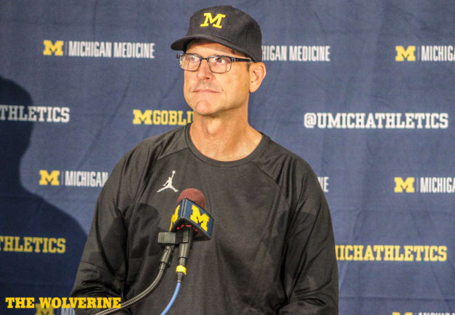 Jim Harbaugh met with the media Monday following a loss to Notre Dame.